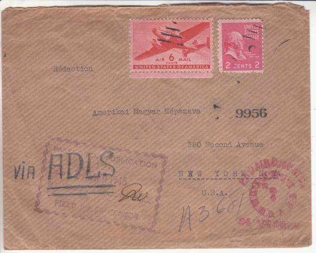 Contrôle de la Presse, expéditeur de Paris pour New York 1945. _3110