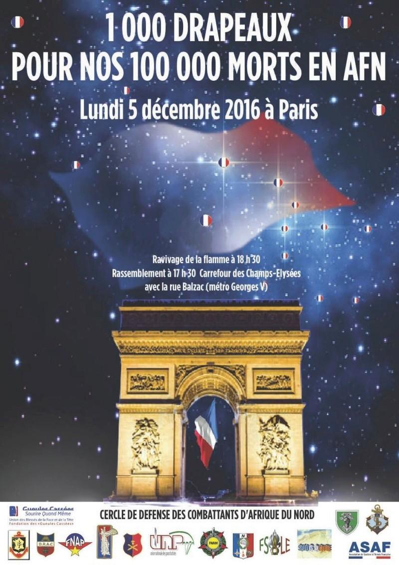 """Sincèrement à vous avec le mauvais """"Esprit de Cherchell!"""": 1.000 drapeaux pour nos 100.000 morts en AFN lundi 5 décembre 2016 à PARIS ravivage de la flamme à l'ETOILE de l'arc de triomphe 17h30 1000_d10"""