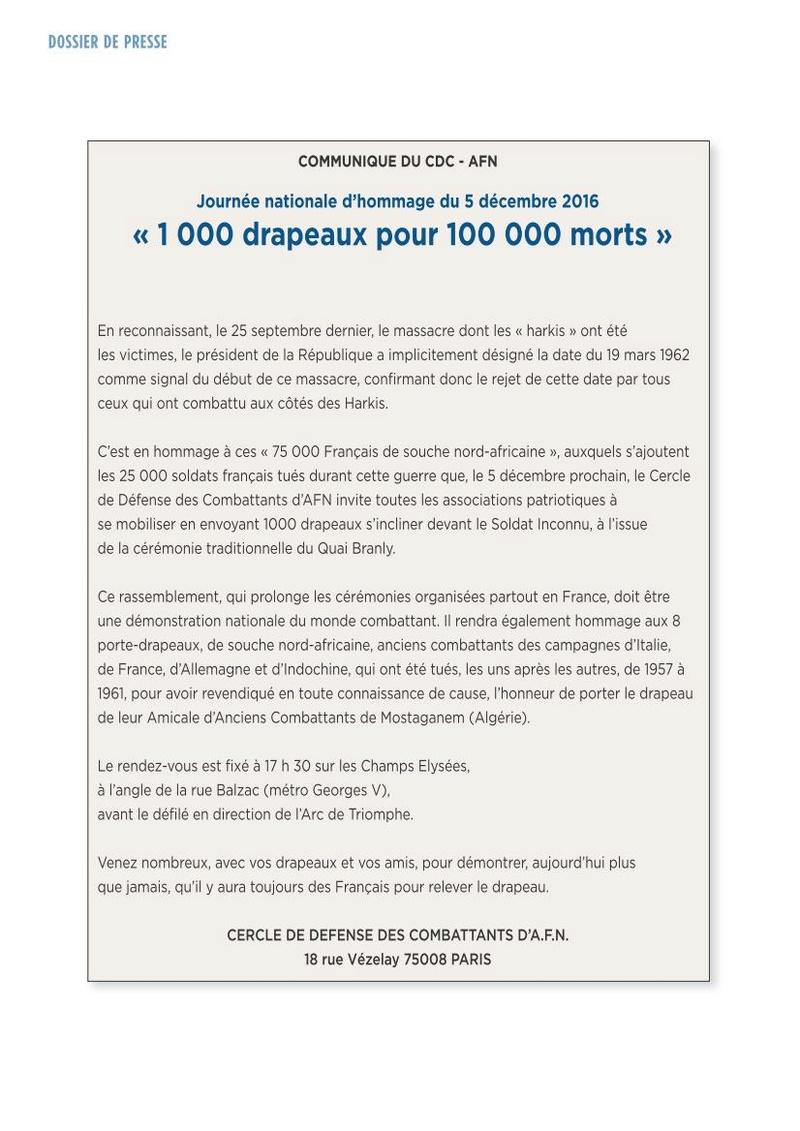 1.000 drapeaux pour nos 100.000 morts en AFN lundi 5 décembre 2016 à PARIS ravivage de la flamme à l'ETOILE de l'arc de triomphe 17h30 1000_d11