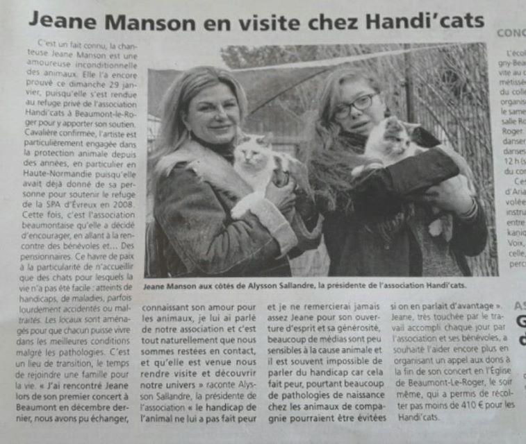 Jeane Manson chez les Handi'cats - artciles de presse 16387410