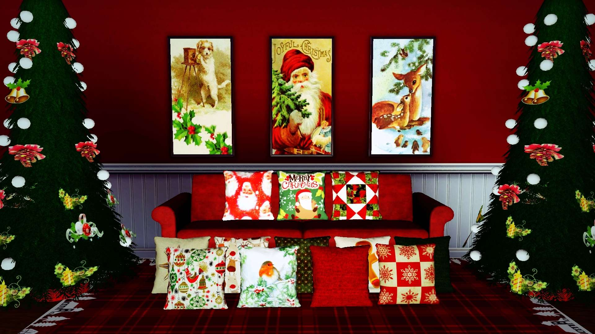Xmas Vintage Paintings Set 2 & Christmas Cushions Set 1 by InaMac69 318