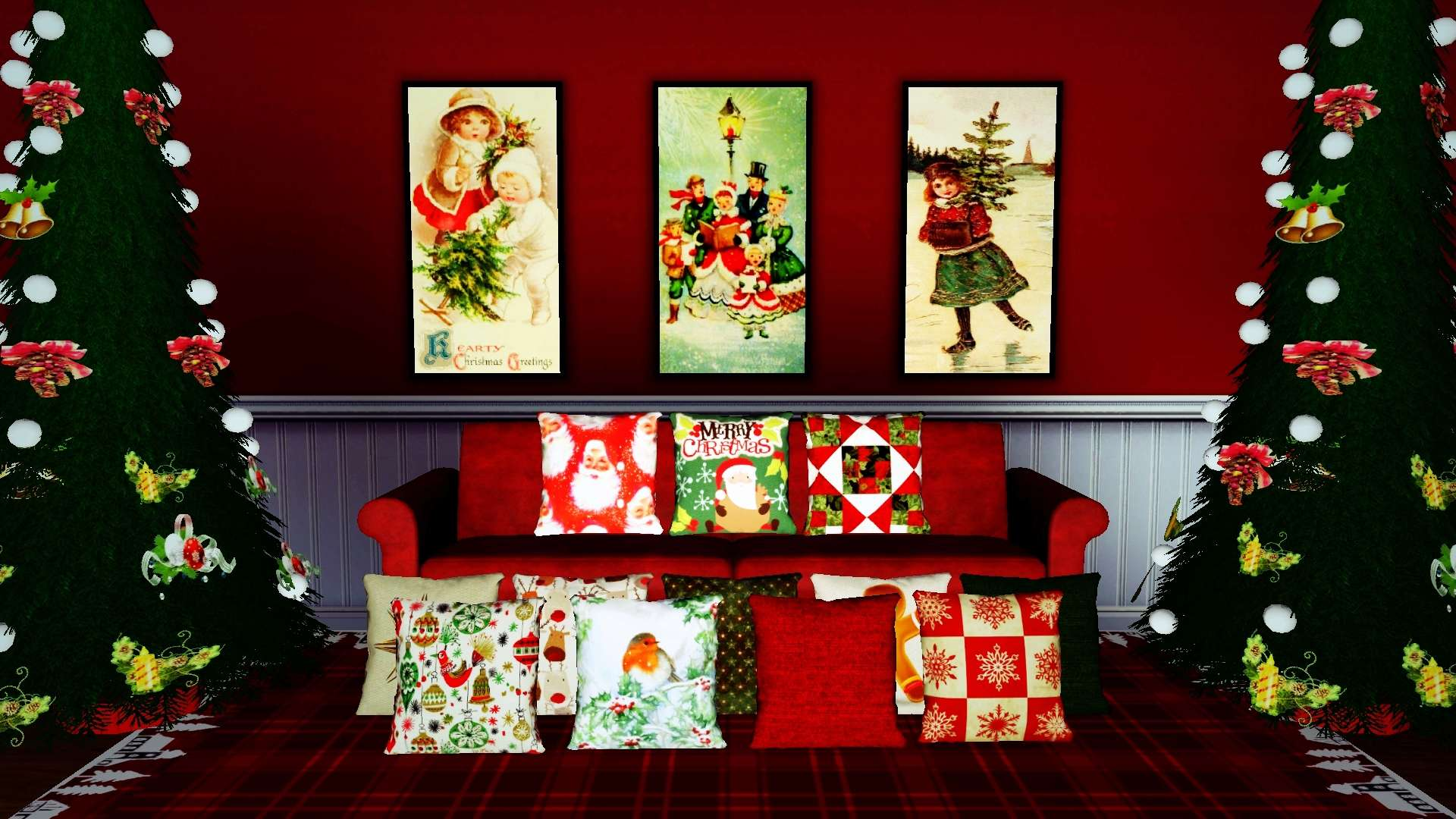 Xmas Vintage Paintings Set 2 & Christmas Cushions Set 1 by InaMac69 416