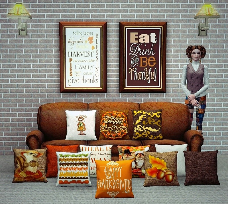 Thanksgiving Cushion Set Sims 3 Cushio10