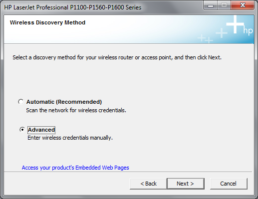 Cài đặt HP LaserJet P1102w để in qua mạng không dây Hp3e10