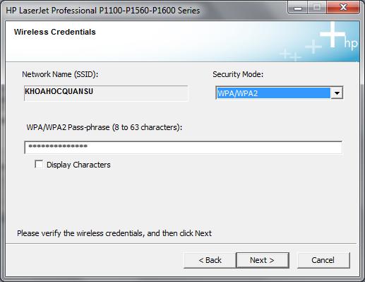 Cài đặt HP LaserJet P1102w để in qua mạng không dây Hp3h10