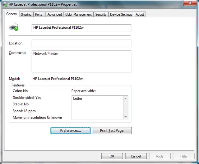 Cài đặt HP LaserJet P1102w để in qua mạng không dây Hp5a10