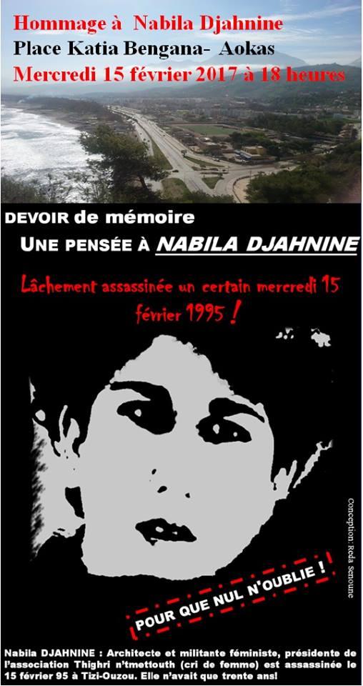 Hommage à Nabila Djahnine Aokas 15 février 2017 Hommag10