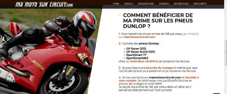 Réduction 30 Euros avec achat pneus Dunlop Dunlop12