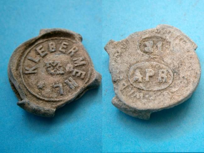 """033 - Plombs de scelles """" Walzenmühle Wilheimsburg – Diamant Mehl"""". Plomb282"""