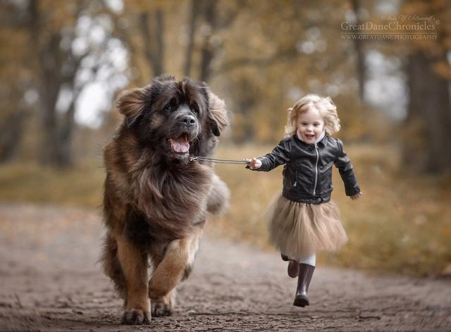 De sublimes photos d'enfants tout-petits et leurs gros chiens 1910