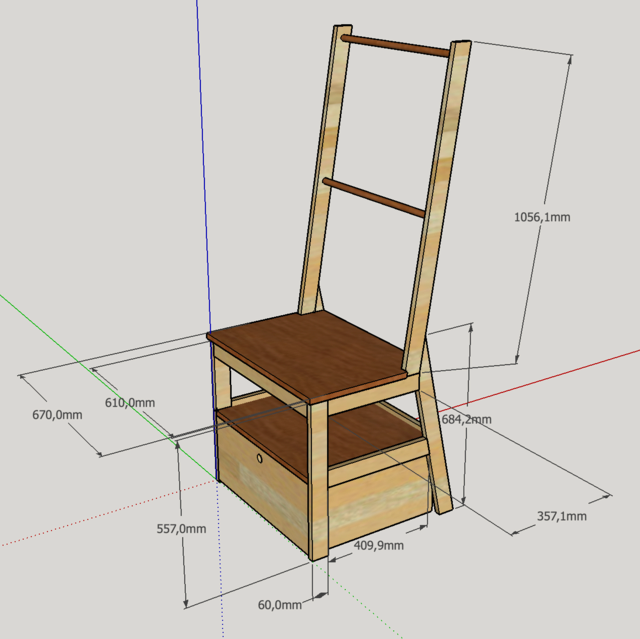 Chaise porte-serviette + tiroir Plan10