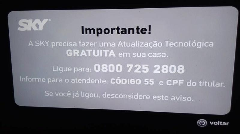 mensagem - Importante: Mensagem de atualização tecnológica SKY (Código 55) 15590010