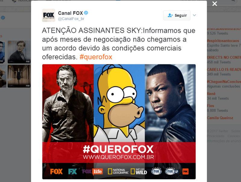 Clientes da SKY têm direito a desconto por cortes dos canais Fox 16937210