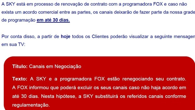 SKY e Fox em processo de negociação dos canais Screen16