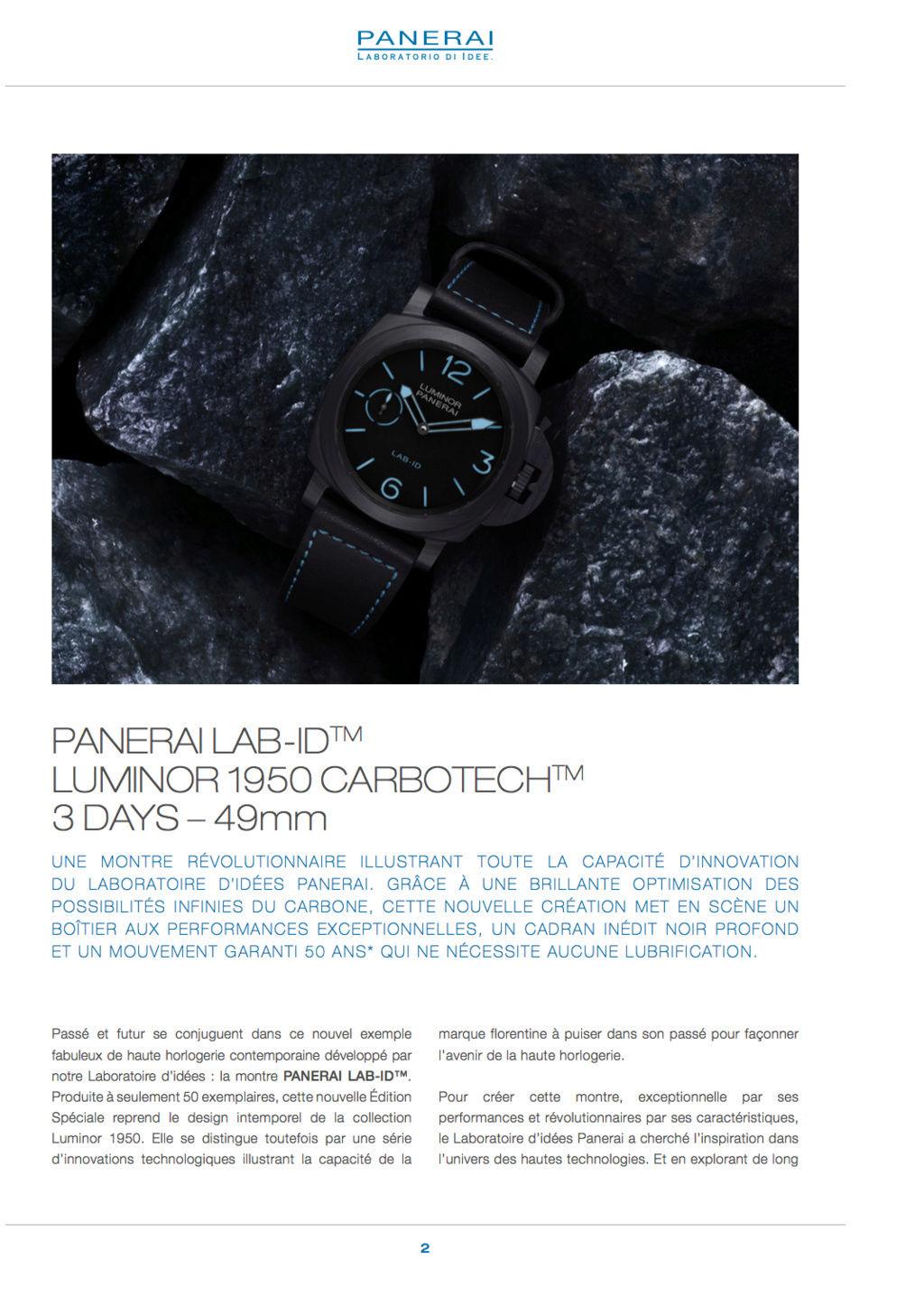 Communiqué de Presse SIHH2017 : PANERAI LAB-ID™ LUMINOR 1950 CARBOTECH™ 3 DAYS - 49mm PAM00700 Captur17