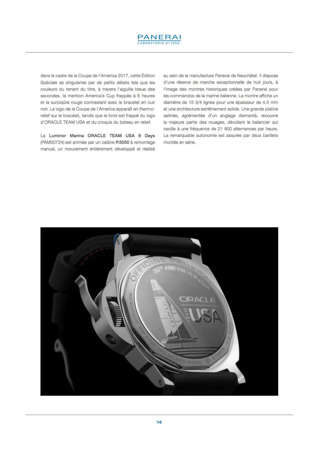 Communiqué de Presse SIHH2017 : Gamme Luminor AMERICA'S CUP - PAM00724-PAM00725-PAM00726-PAM00727-PAM00732 Captur74