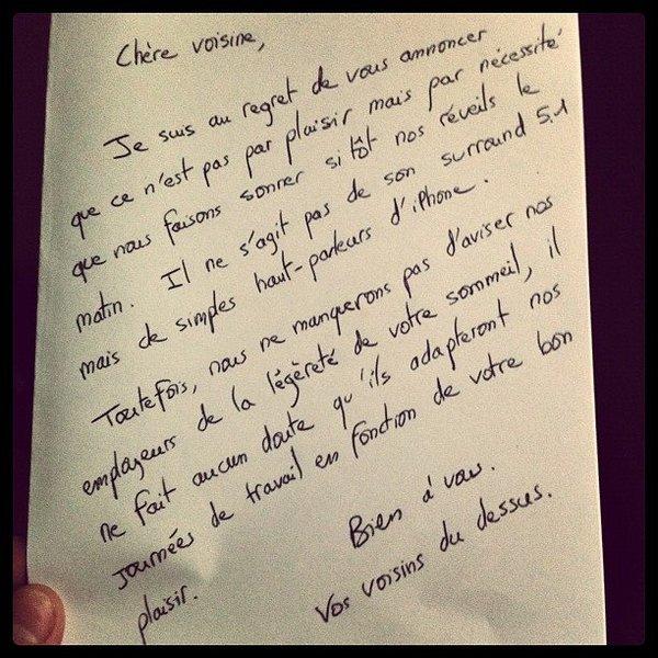Ses voisins l'empéchent de dormir ,il placarde cette lettre sur leur mur Mots_v11