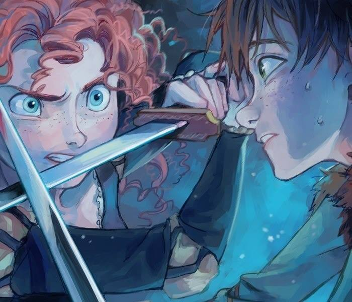 (Fan art) Merida, Rapunzel, Jack et Hiccup - The Big Four Ll11