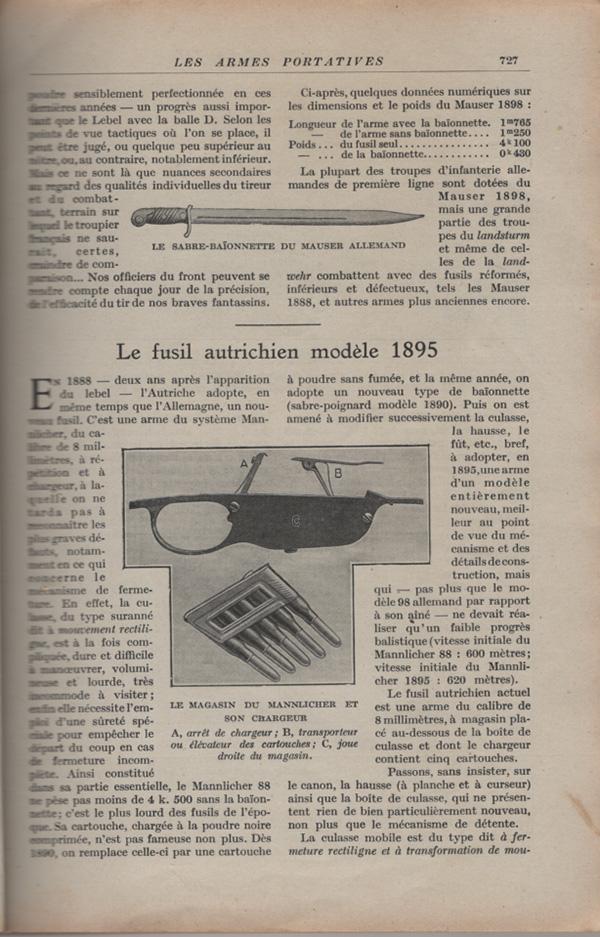 Les armes portatives des troupes en campagne en 1915 72710