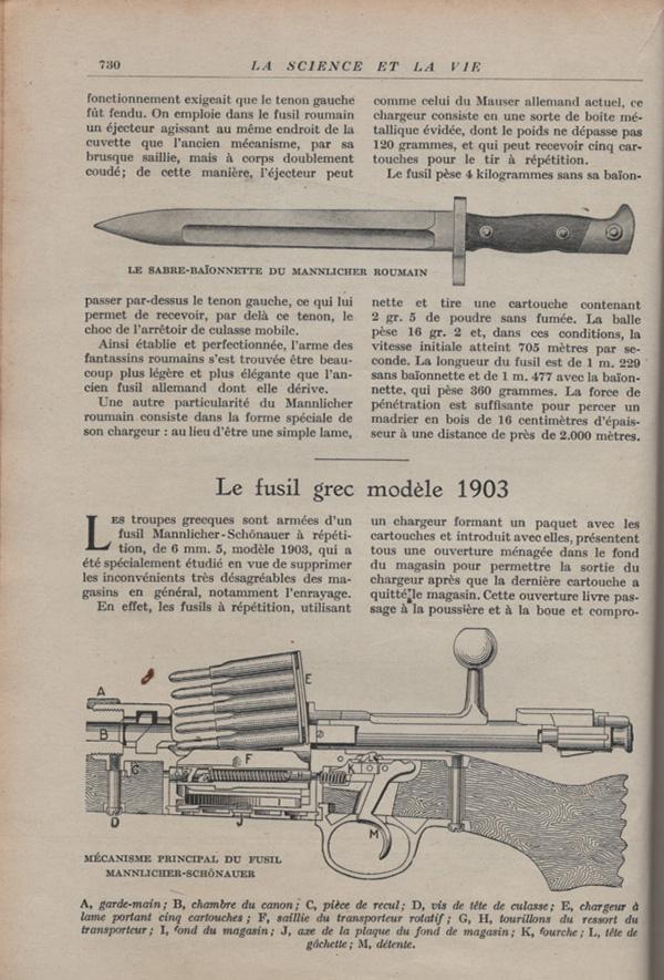 Les armes portatives des troupes en campagne en 1915 73010