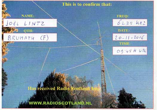 QSL de Radio Scotland International Radios12