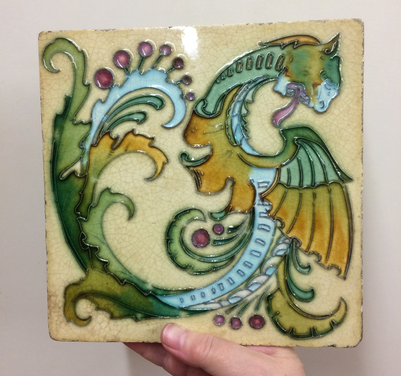 Pottery wall tile stamped Hercules Img_3821