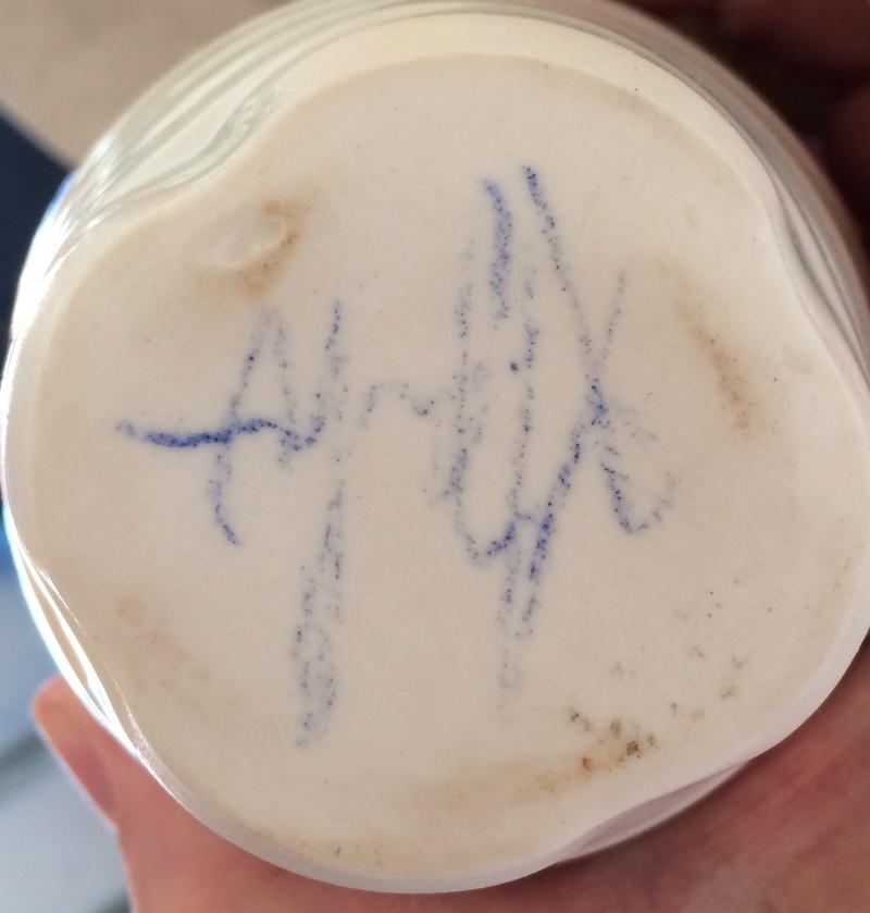 Signed porcelain celadon beaker or teabowl  Img_6113