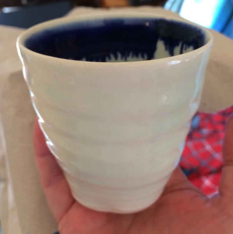 Signed porcelain celadon beaker or teabowl  Img_6114