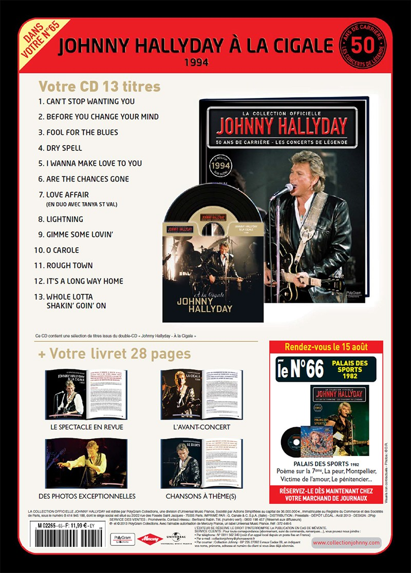 Volume 65 Johnny à La Cigale 1994 Jhcoll27