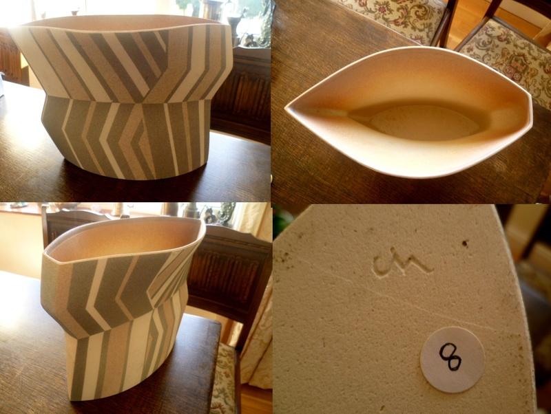 Chevron Vase impressed JM or CM Chevro10