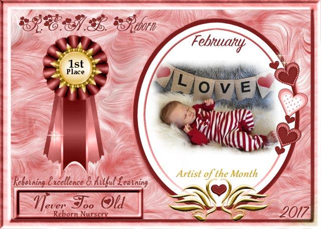 2017 AOTM February Contest Winner Logo - Pia of Never Too Old reborn nursery Februa11