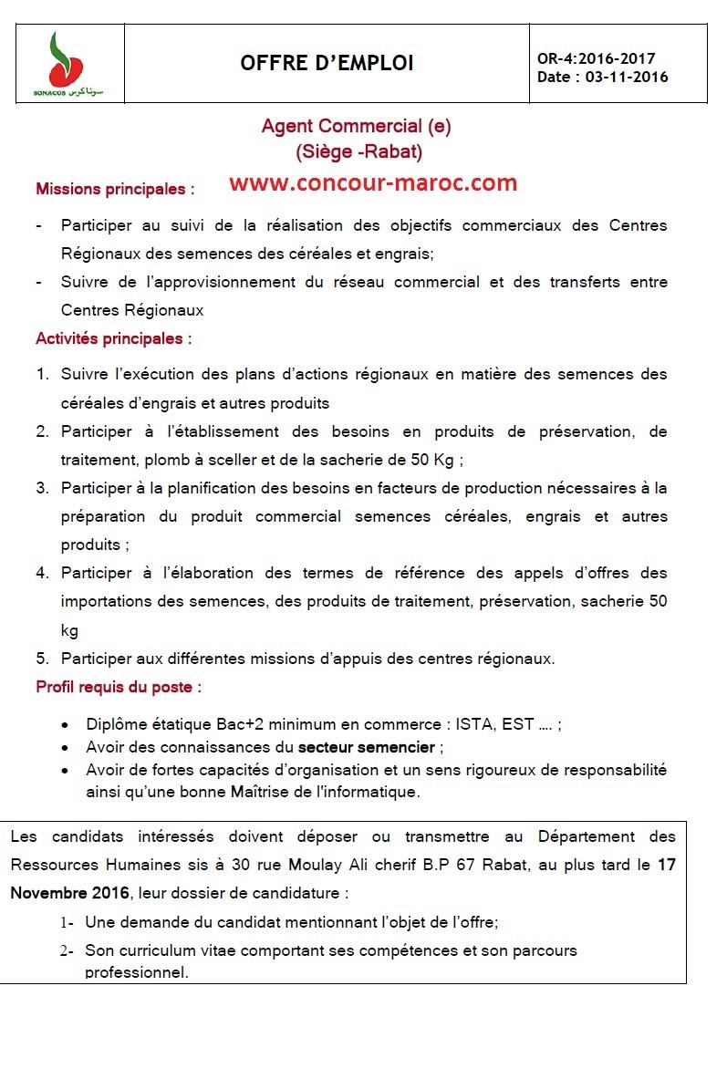 """الشركة الوطنية لتسويق البذور """"سوناكوس"""" : مباراة لتوظيف عون تجاري (1 منصب) آخر أجل لإيداع الترشيحات 17 نونبر 2016  Concou22"""