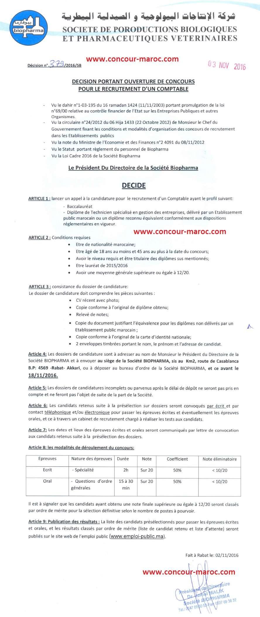 شركة الإنتاجات البيولوجية والصيدلية البيطرية (بيوفارما) : مباراة لتوظيف محاسب (1 منصب) آخر أجل لإيداع الترشيحات 17 نونبر 2016  Concou23