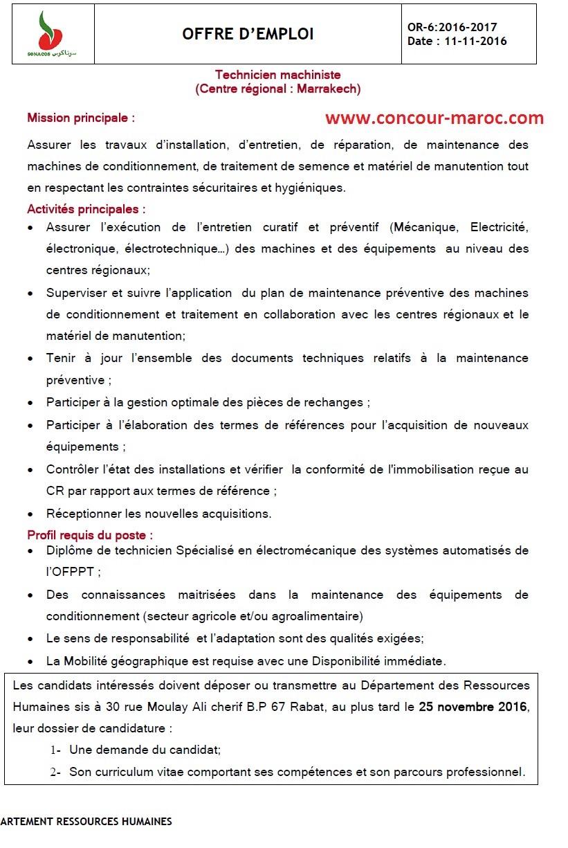 """الشركة الوطنية لتسويق البذور """"سوناكوس"""" : مباراة لتوظيف تقني ألياتي (1 منصب) آخر أجل لإيداع الترشيحات 25 نونبر 2016  Concou63"""