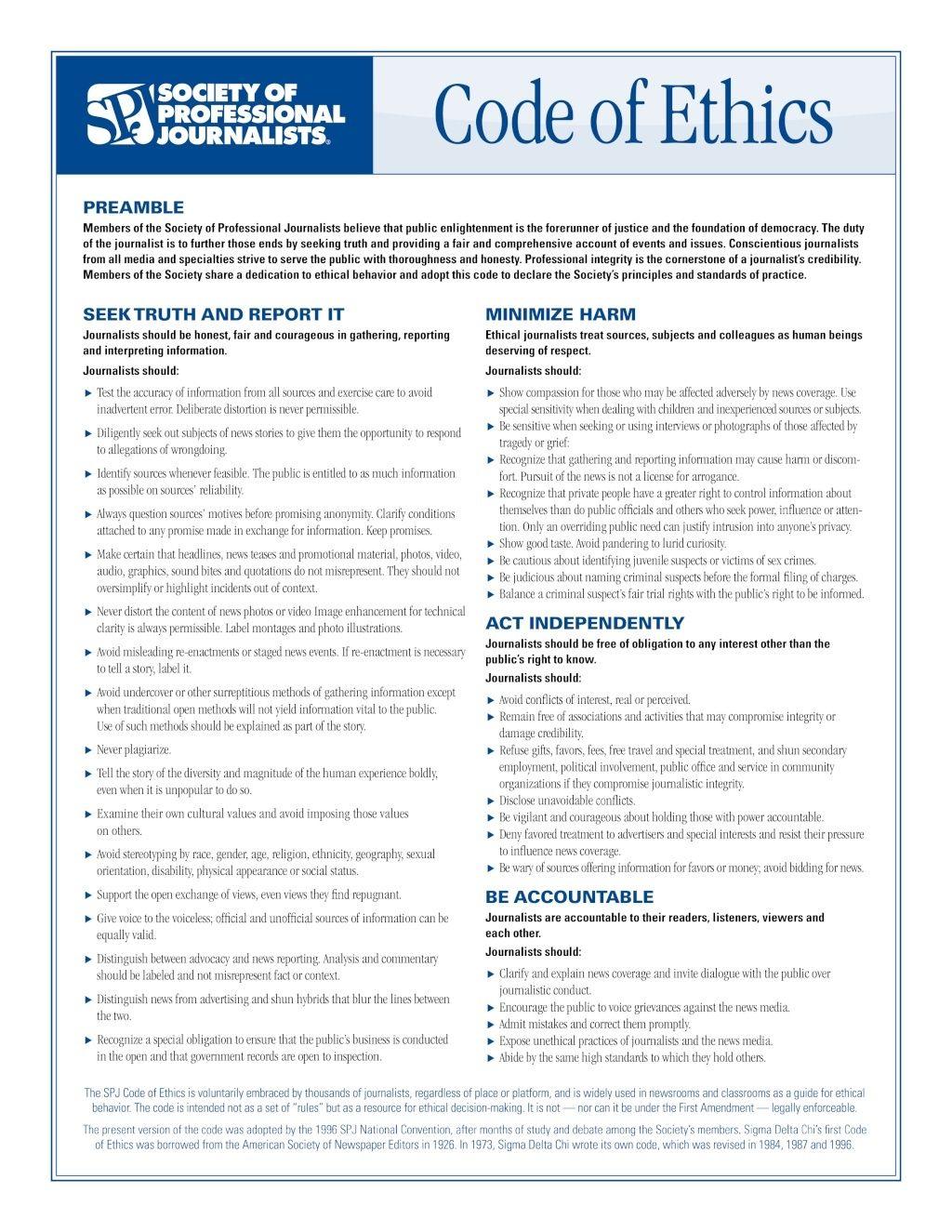 TTiV Code of Journalistic Ethics Societ12