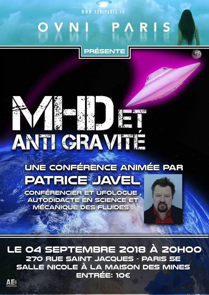 20/09/2018 à 20h : conférence sur la  MHD et l'anti-gravité animée par Patrice Javel 39526010