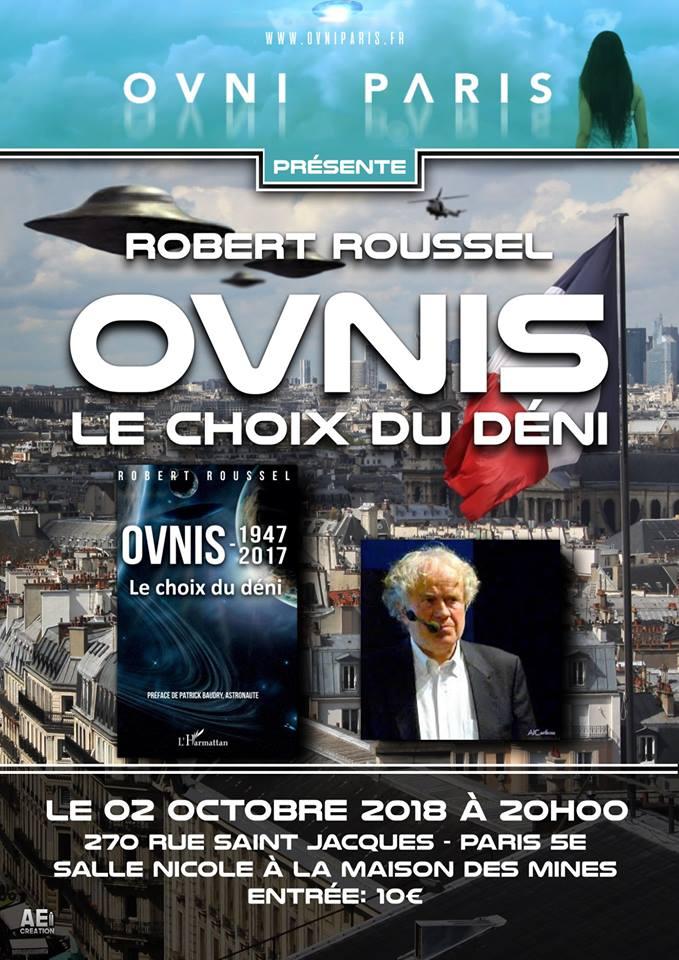 Avec Robert Roussel, conférence à Ovnis Paris le 2 octobre à 20 h   42045010