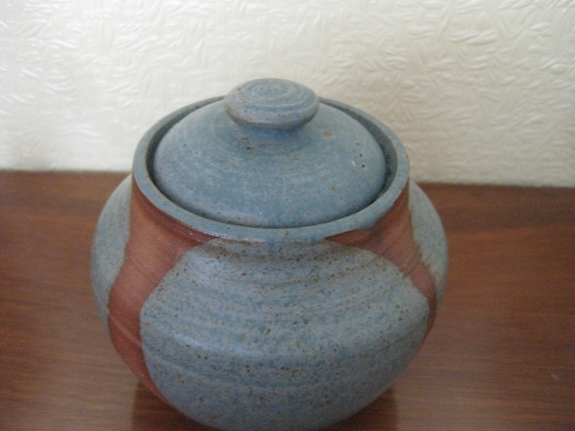 "5"" Pottery Lidded Jar Unknown mark Img_0510"