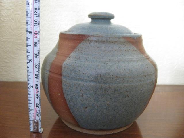 "5"" Pottery Lidded Jar Unknown mark Img_0512"