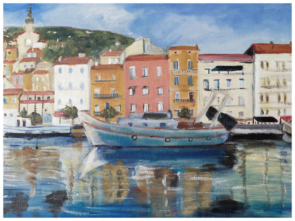 Peinture vue d'un quai sur Sète Tablea13