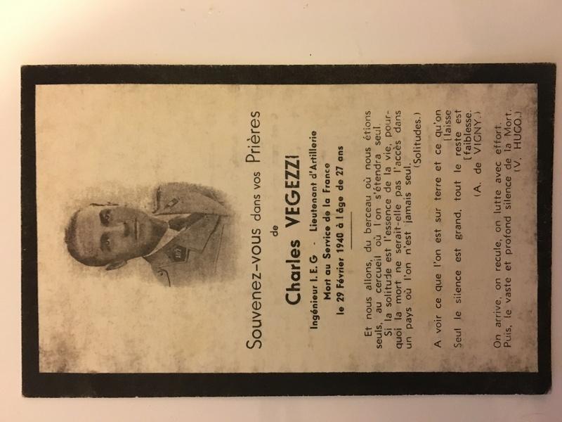 Faire part de décès du Lieutenant Vegezzi du 391 régiment d'artillerie tractée Img_4610