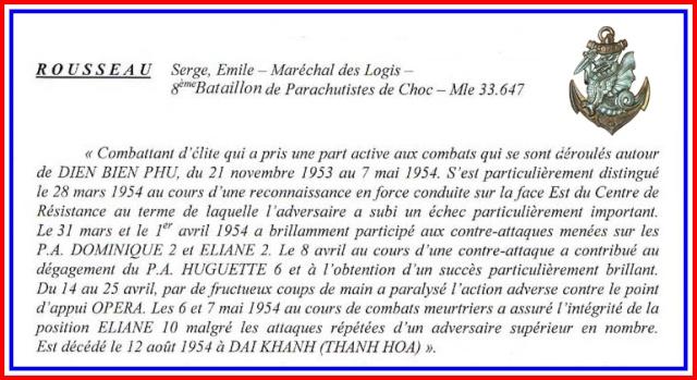 maréchal des logis. Serge-Emile Rousseau  8eme BPC  MPLF le 12 aout 1954 Texte_10