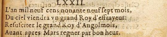 Центурия 10, катрен 72.  1568-y11