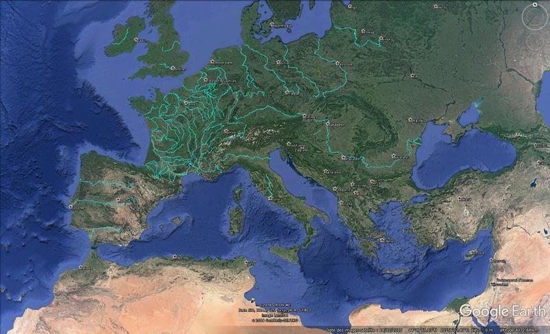 KMZ : Fleuves et Rivière du Monde Europe11