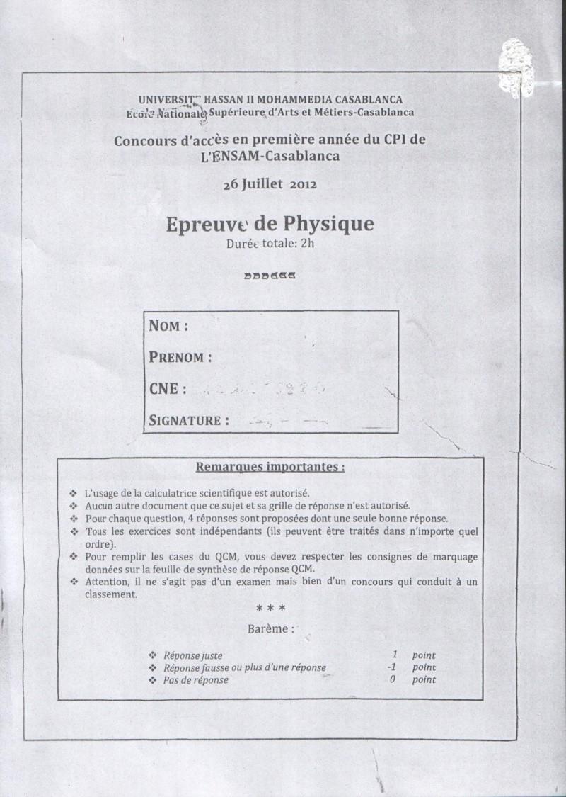 Concours de l'ENSAM de Casablanca 2012 (physiques): 0110