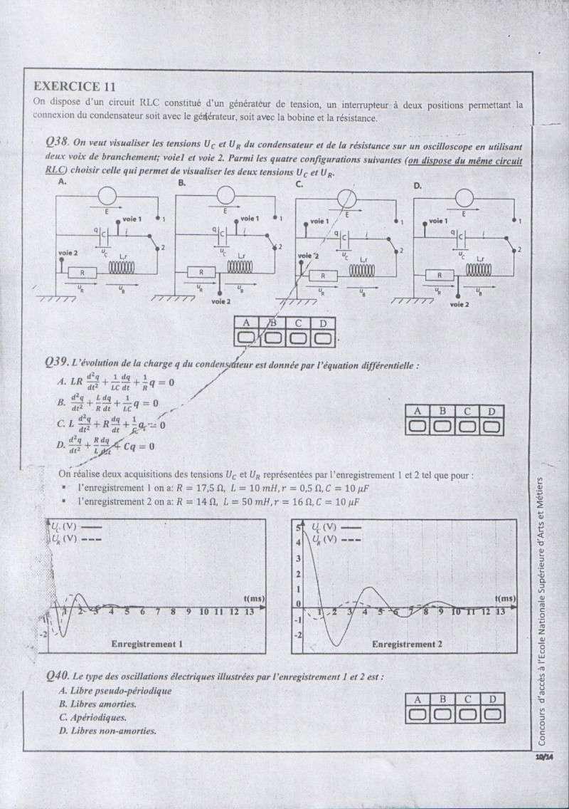 Concours de l'ENSAM de Casablanca 2012 (physiques): 1011