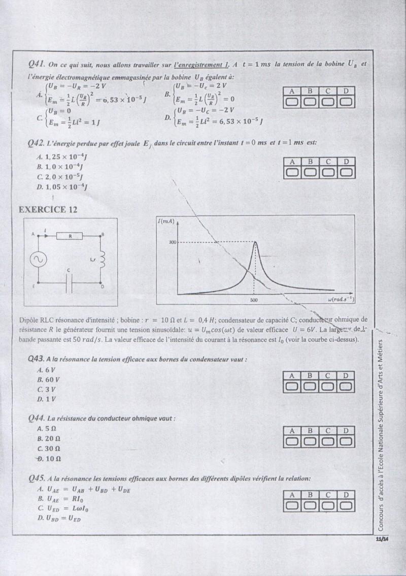 Concours de l'ENSAM de Casablanca 2012 (physiques): 1110