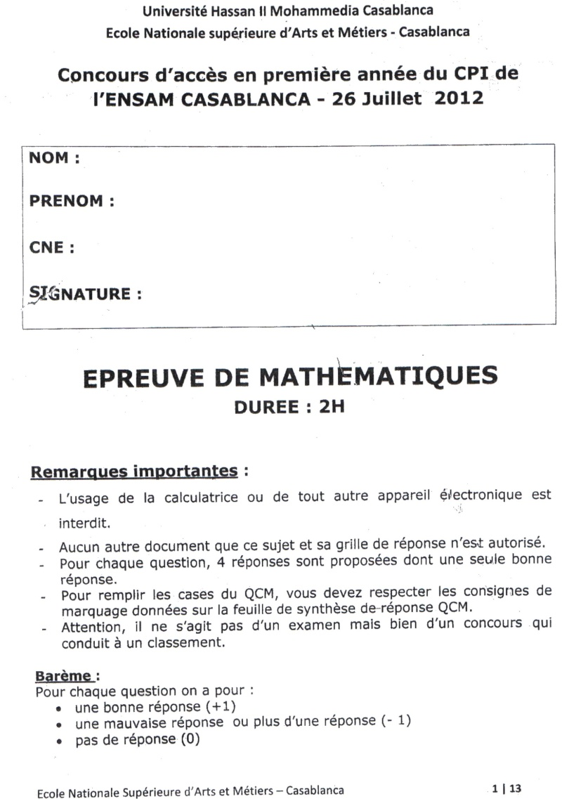concours de l'ENSAM de Casablanca 2012 (mathématiques): 13730110