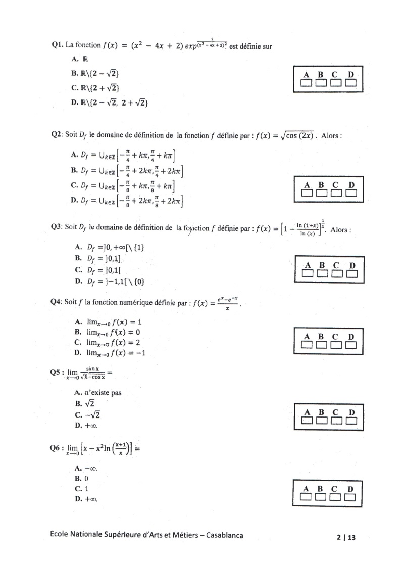 concours de l'ENSAM de Casablanca 2012 (mathématiques): 13730111