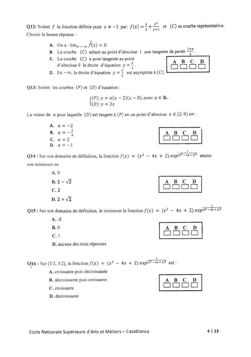 concours de l'ENSAM de Casablanca 2012 (mathématiques): 13730113